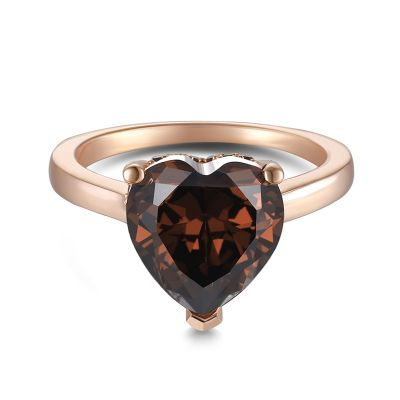 Sterling Silver Elegant Halo Round With Heart Cut Chocolate Engagement Ring
