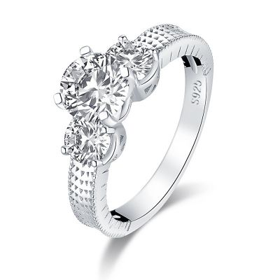 Sterling Silver Three Stone Design Round Cut Engagement Ring