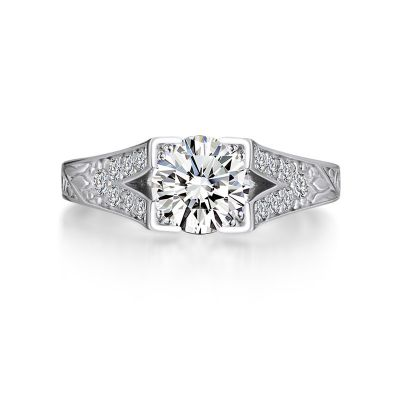 Sterling Silver Simple Split Shank Round Cut Engagement Ring