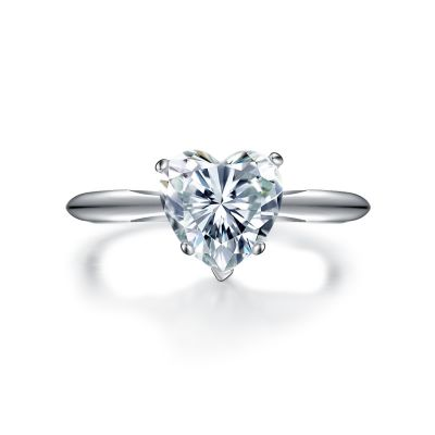 Sterling Silver Classic Heart Cut Solitaire Engagement Ring