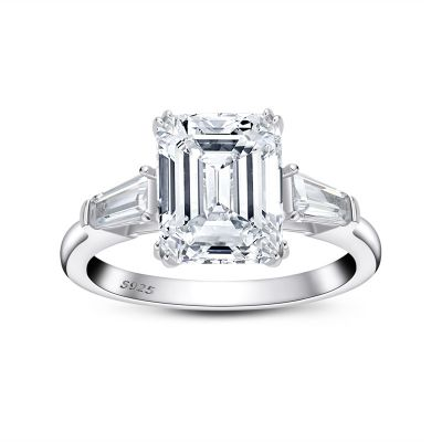 Sterling Silver Three Stone Emerald Cut Engagement Ring