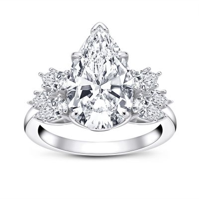 Sterling Silver Classic Pear Cut Engagement Ring With Side Stones