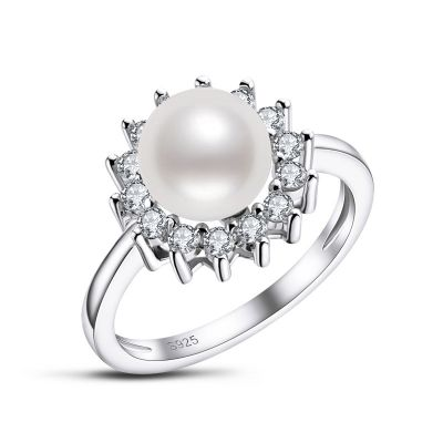 Sterling Silver Classic Halo Round Cut Pearl Engagement Ring