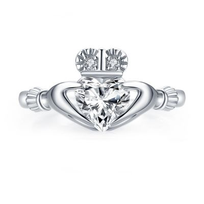 Sterling Silver Hands Holding Heart Crown Engagement Ring