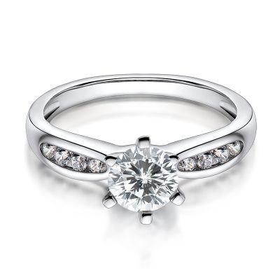 Sterling Silver Simple Six Prong Round Cut Engagement Ring