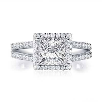 Sterling Silver Split Shank Halo Princess With Round Cut Engagement Ring