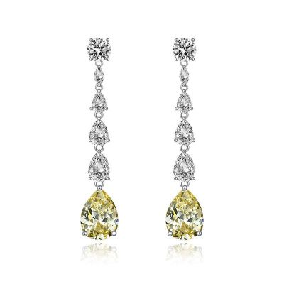 Sterling Silver Classic Pear With Round Cut Dangle Earrings