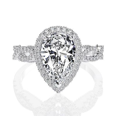 Sterling Silver Exquisite Twist Halo Pear Cut Engagement Ring