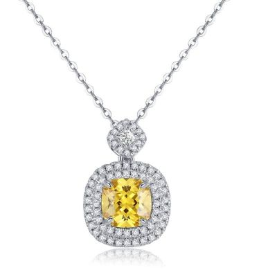 Sterling Silver Dainty Double Halo Design Cushion Cut Necklace