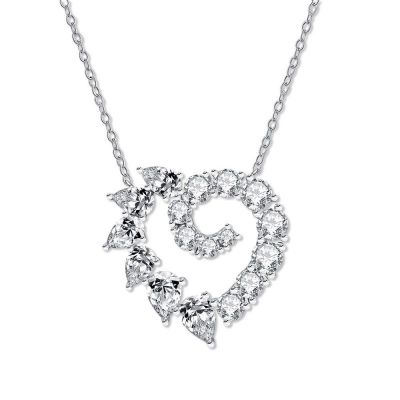 Sterling Silver Classic Heart Pear With Round Cut Necklace