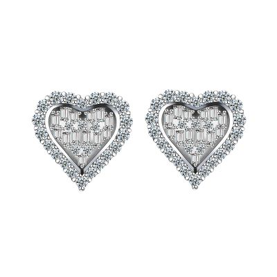 Sterling Silver Exquisite Heart Shape Round With Baguette Cut Stud Earrings