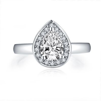 Sterling Silver Classic Halo Pear Cut Engagement Ring