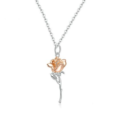 Sterling Silver Classic Rose Inspired Two Tone Necklace