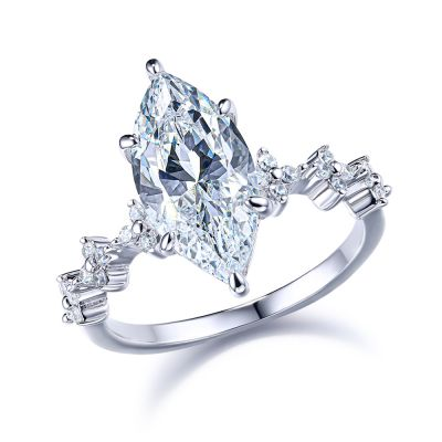 Sterling Silver Elegant Marquise With Round Cut Engagement Ring