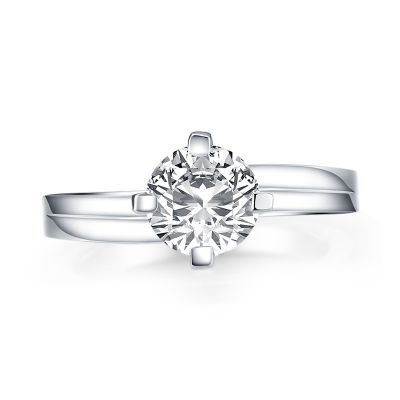 Sterling Silver Classic Four Prong Round Cut Solitaire Engagement Ring