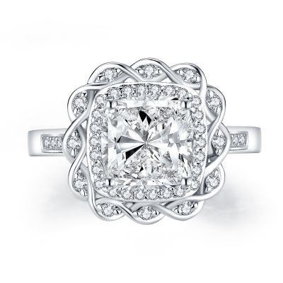 Sterling Silver Exquisite Twisted Halo Cushion With Round Cut Engagement Ring