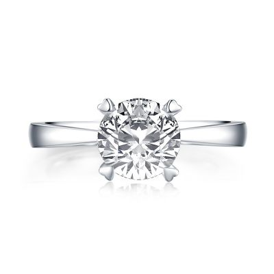 Sterling Silver Exquisite Heart Shape Inspired Round Cut Solitaire Engagement Ring