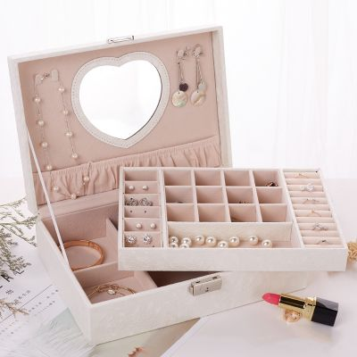 Multi Function Classic PU Leather Jewelry Box With Heart Shape Mirror