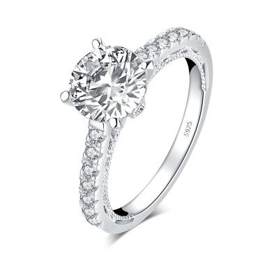 Sterling Silver Delicate Milgrain Round Cut Engagement Ring