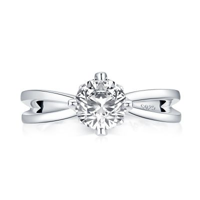 Sterling Silver Split Shank Round Cut Engagement Ring