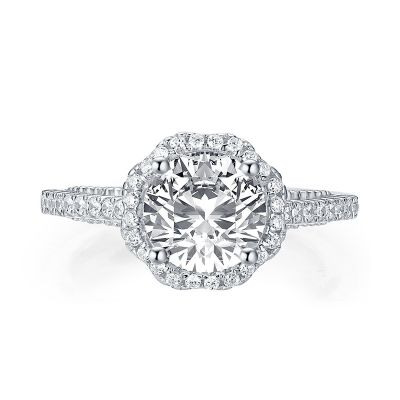 Sterling Silver Classic Milgrain Flower Inspired Halo Round Cut Engagement Ring