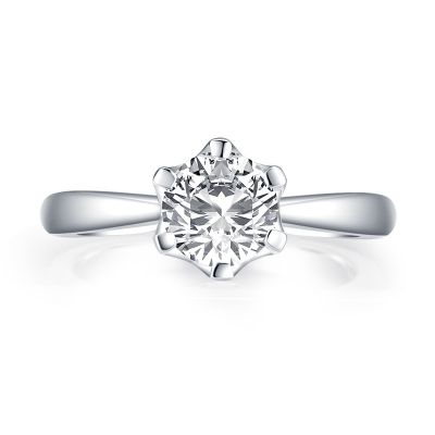 Sterling Silver Classic Six Prong Round Cut Solitaire Engagement Ring VEMG097