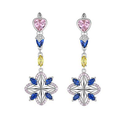 Sterling Silver Classic Flower Design Heart With Marquise Cut Drop Earrings