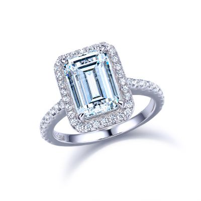 Sterling Silver Delicate Halo Emerald Cut Engagement Ring