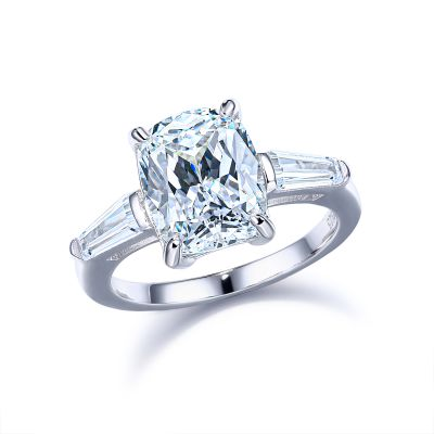 Sterling Silver Classic Three Stone Cushion With Tapered Baguette Cut Engagement Ring