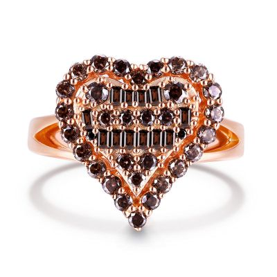 Sterling Silver Heart Shape Halo Design Round With Baguette Cut Chocolate Engagement Ring