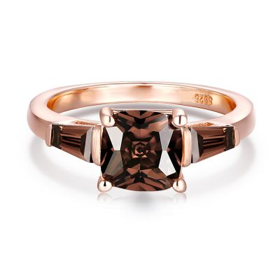 Sterling Silver Three Stone Cushion With Baguette Cut Chocolate Engagement Ring