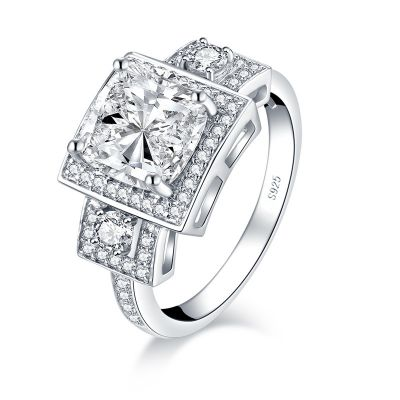 Sterling Silver Delicate Three Stone Halo Cushion With Round Cut Engagement Ring