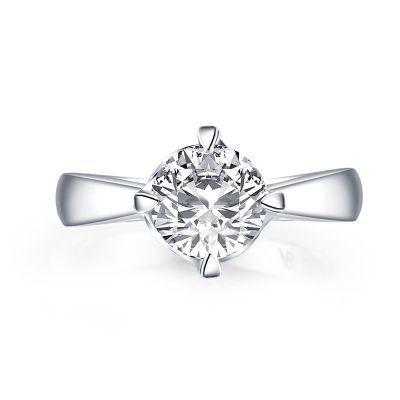 Sterling Silver Simple Round Cut Solitaire Engagement Ring