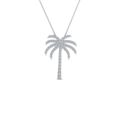 Sterling Silver Delicate Palm Tree Inspired Round Cut Necklace