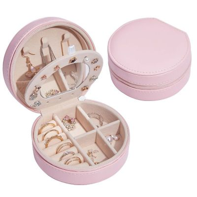 Multi Function Round Shape PU Leather Jewelry Box With Mirror