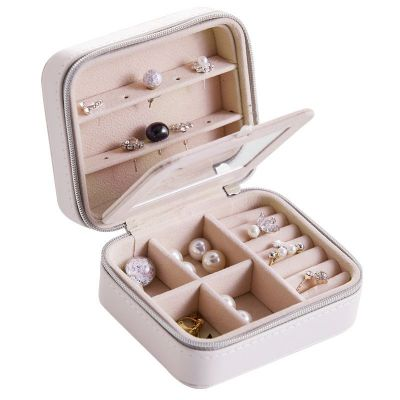 Multi Function PU Leather Jewelry Box With Mirror