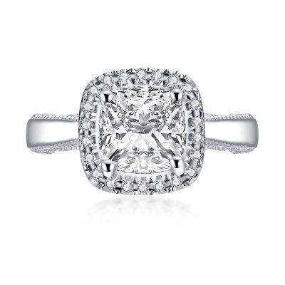 Sterling Silver Classic Vintage Halo Cushion With Round Cut Engagement Ring
