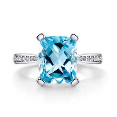 Sterling Silver Delicate Cushion Cut Stone In Blue Topaz Engagement Ring