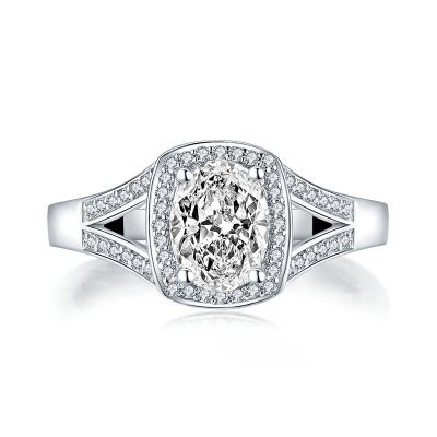 Sterling Silver Classic Split Shank Halo Oval Cut Engagement Ring