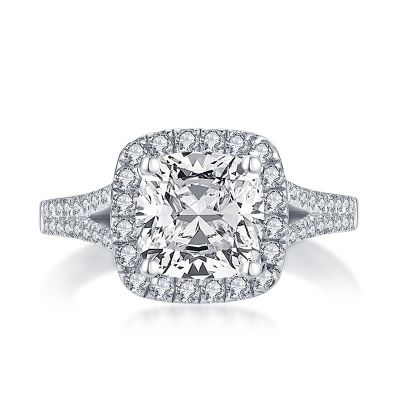 Sterling Silver Split Shank Halo Cushion With Round Cut Engagement Ring