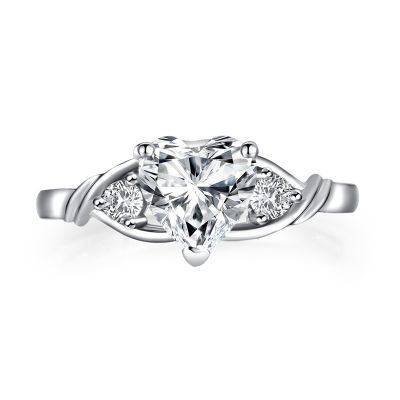 Sterling Silver Classic Three Stone Heart With Round Cut Engagement Ring