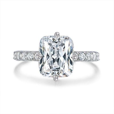Sterling Silver Exquisite Halo Design Radiant With Round Cut Engagement Ring