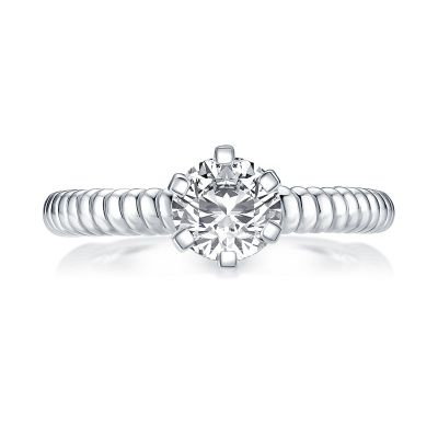 Sterling Silver Simple Twisted Cable Round Cut Solitaire Engagement Ring