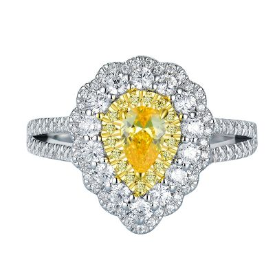 Sterling Silver Delicate Split Shank Two Tone Halo Pear Cut Engagement Ring