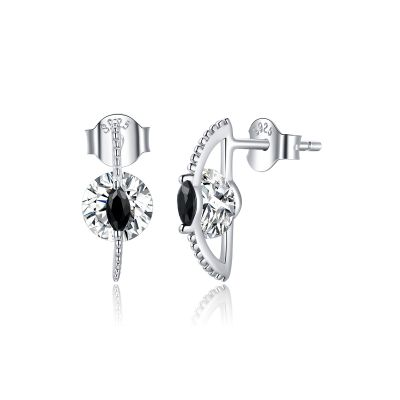 Sterling Silver Delicate Marquise And Round Cut Stud Earrings