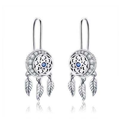 Sterling Silver Classic Leaf Design Halo Round Cut Drop Earrings
