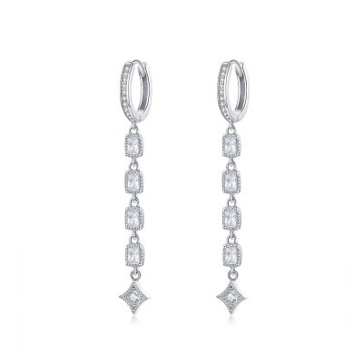 Sterling Silver Exquisite Halo With Round Cut Drop Earrings
