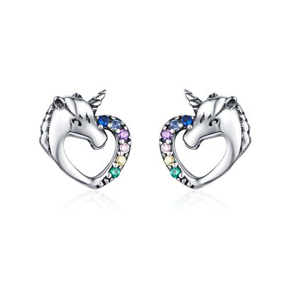 Sterling Silver Unicorn Inspired Multi Color Round Cut Stud Earrings