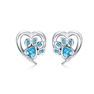 Sterling Silver Unique Heart Design With Round Cut Stud Earrings