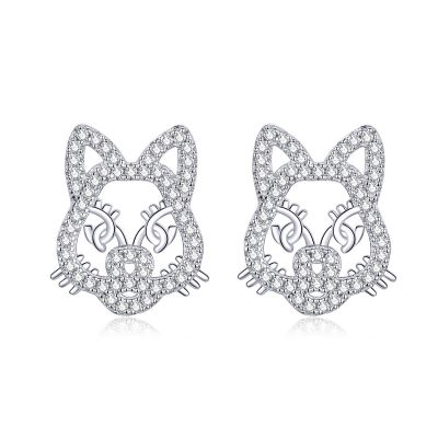 Sterling Silver Cute Tiger Inspired Round Cut Stud Earrings